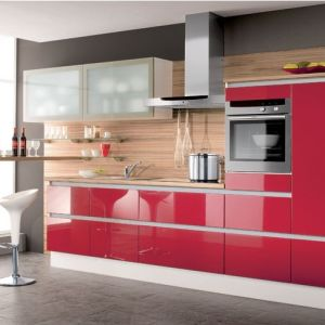 Acrylic Red Modern Kitchen Cabinet