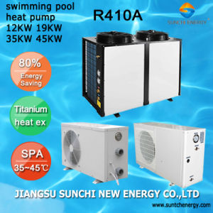 Thermostat 24~239 Cube Meter Water Keep 45deg. C Titanuim 19kw/35kw/70kw105kw R410A Air Source Heat Pump Water Heater SPA Pool pictures & photos