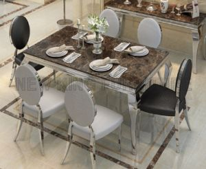 Luxury European Stainless Steel Dining Table Designs With Marble (NK DTB095)