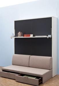 Divan Bed Design Wooden Murphy Mechanism Storage Sofa Wall Hidden With Bookshelf