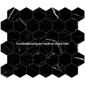 Black Hexagon Marble Stone Mosaic Tile (HSM115) pictures & photos