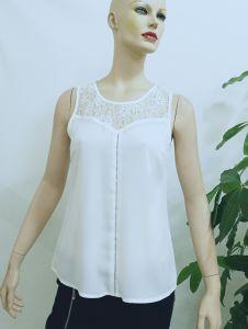 738e433dbb9 2017 Lace Chiffon Blouse Designs Elegant White Sleeveless Tops Women Lace  Blouses