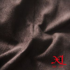 Dark Brown Polyester One Side Suede Fabric for Sofa/Garment pictures & photos