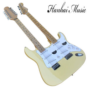Hanhai Music/St Style White Yellow Double Neck Electric Guitar pictures & photos