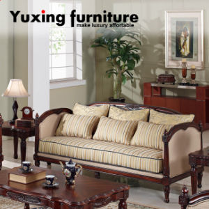 China Carved Wood Trim Sofa Antique Home Fabric Couch For Living Room Set