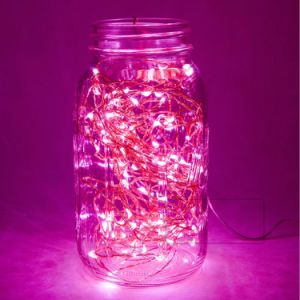 Pink LED Flexible Starry Fairy Copper Lights with Power Adapter for Party Home Bedroom Wedding