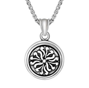 Round Necklace Pendant Retro Pattern 316L Stainless Steel