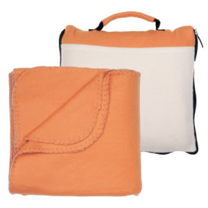 Hot Sale Polar Fleece Cushion Blanket for Train and Airplane Travel in a Zipper Bag