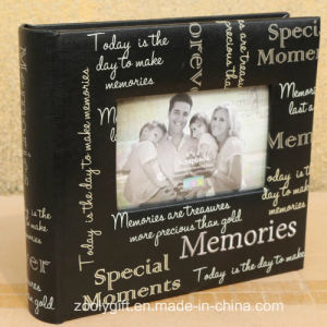 Wholesale Slogan Printing Black Memories Photo Album with Window pictures & photos