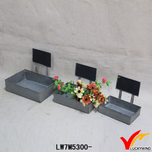 Square Vintage Retro Galvanized Sheet Metal Chalk Board Planter Boxes pictures & photos