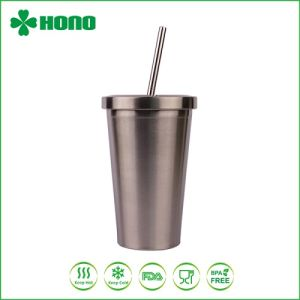 16oz Stainless Steel Starbucks Coffee Mug Tumbler With Straw