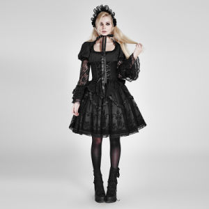 Lt-007 Lolita Unique Sleeve Woven Lace Fit Waist Specia Sublimation Black Shirt