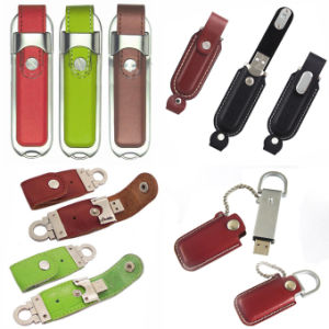 Leather USB Flash Drive Memory with Keychain
