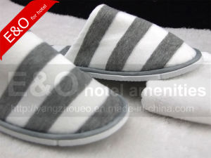 Cotton Terry Fabric Stripes Printing Hotel Room Slipper pictures & photos