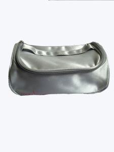 Satin Beautiful Silver Cosmetic Bag with Zipper Closed