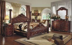 Luxury Antique Wooden Bedroom Furniture King Size Bed