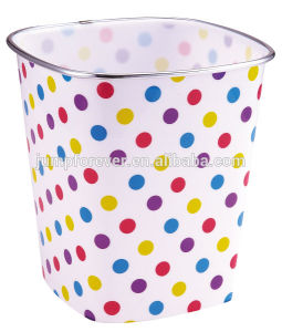 Best Selling Practical and High Quality Plastic DOT Pattern Trash Can for Office
