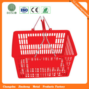 2016 Wholesale Supermarket Plastic Shopping Baskets with Wheels (JS-SBN03) pictures & photos