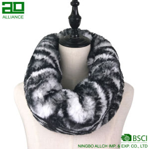 Zebra-Strips Winter Faux Fur Infinity Scarf