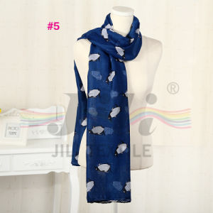 Little Penguin Animals Print Long Winter Soft Polyester Voile Scarf
