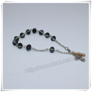 Black Glass Beads Catholic Rosary Bracelet on Chain (IO-CB182) pictures & photos