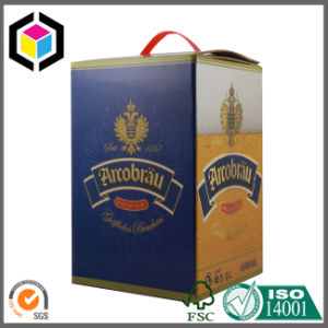 Gold Color Print Wine Beer Bottle Corrugated Packaging Box with Handle