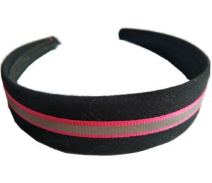 Black Color with Stripe Fabric Covered Wide Headbands
