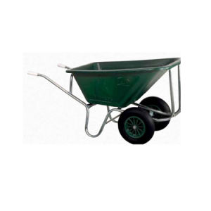 Ideal For Garden And Horticultural Use Green Polypropylene Basin Twin  Pneumatic Wheels Agricultural Bobby Wheel Barrow
