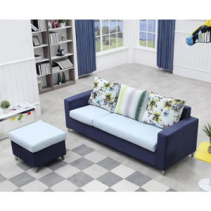 Modern 3 Seater Fabric Sofa with Ottoman