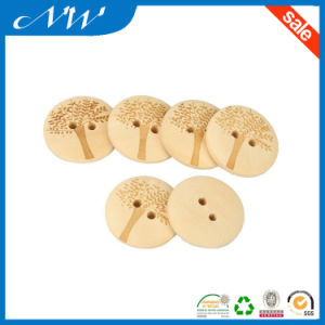 2 Holes Wood Button with Cute Tree Pattern DIY Crafts