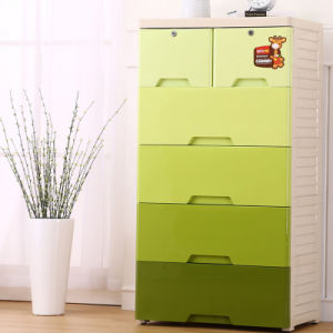 Fashion Green Plastic Drawer Cabinet for Home (206026)