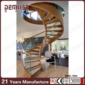 Spiral Staircase Design Glass Railings Round Wood Stair (DMS 1054)