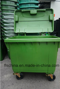 Eco-Friendly 660L Plastic Dustbin with Four Wheels pictures & photos