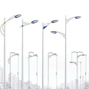 Outdoor Double Arm Round Octagonal Galvanized Led Street Light Pole