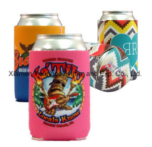 Fashion Promotion Customized Printed Hot Pink Neoprene Stubby Can Cooler with Base pictures & photos