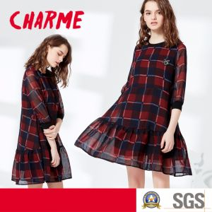 Ladies Fashion Preppy Linen Cotton Plaid Dress pictures & photos