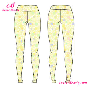 Modern Fit Yellow Patterned Sportwear Yoga Leggings