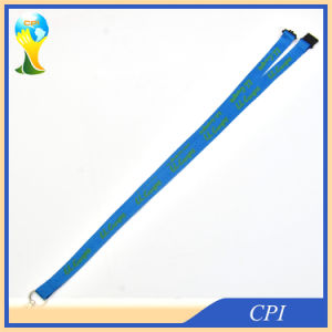 Green Logo Printing on Blue Polyester Lanyard for Sale