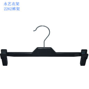 Brand Fashion Shop Display Clips Black Plastic Velvet Pants Hangers pictures & photos