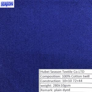 Cotton 10*10 72*44 280GSM Dyed Twill Woven Fabric Cotton Fabric Clothes Textile pictures & photos