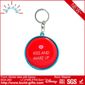 Plastic Mirror with Epoxy on Sticker Label and Keyring