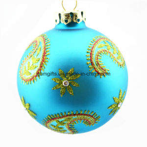 Hand Drawing Xmas Glass Ball, Wholesale Pretty Christmas Glass Ornament