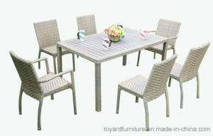 China Patio Rattan Wicker Grey Polywood Outdoor Dining Table And