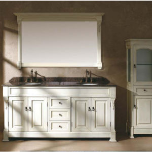 White Paint Solid Wood Waterproof Bathroom Vanity Cabinet (GSP14-007) pictures & photos