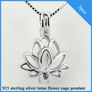 China 3pcs Lotus Flower Shaped 925 Sterling Silver Cage Pendants