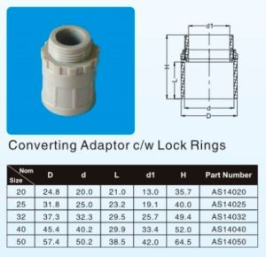 UPVC Converting Adaptor C/W Lock Rings in AS/NZS 2053 Standard White/ Grey /Orange Colour to Australian Market pictures & photos