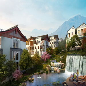 Waterfall Project Architectural 3D Visulization with High Quality