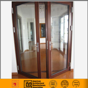 China Wood Grain Aluminum French Door Designs pictures & photos