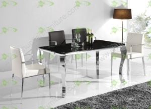 (ST-091) Home Furniture Modern Tempered Glass Dining Table