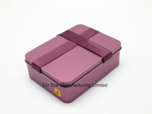 Rectangular Gift Tin Box with Ribbon for Wedding/Candy/Chocolate Box